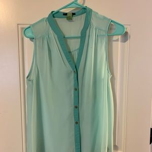 Teal Forever 21 button up tank.